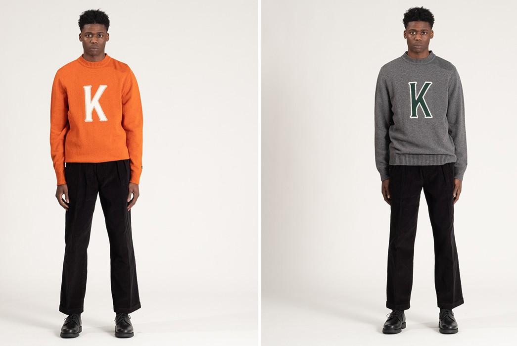 Storm-Your-Dorm-In-Knickerbocker's-'K'-Wool-Swea-model-t-fronts-orange-and-grey