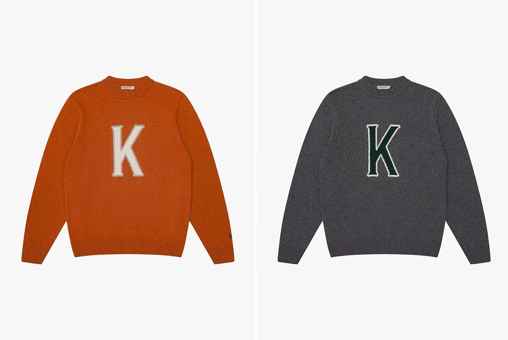 Storm-Your-Dorm-In-Knickerbocker's-'K'-Wool-Sweat-fronts-orange-and-grey