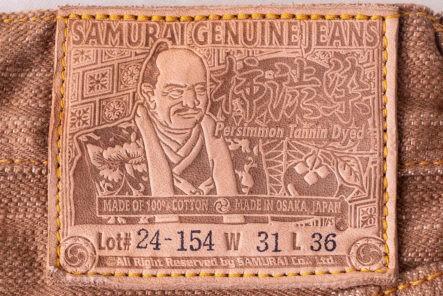 Uniquely-Colored-Selvedge---Five-Plus-One-2)-Samurai-Jeans-S5000KA-ll-Kakishibu-leather-patch